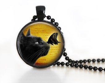 Black Cat And A Butterfly Glass Pendant, Photo Glass Necklace, Glass Keychain
