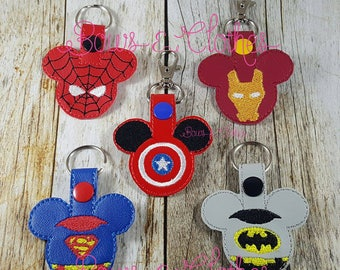 Mice Heroes set of 5 Key Fob Set embroidery design digital instant download