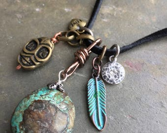Taos: Chinese Turquoise Nugget & Sterling Silver Charm Black Leather Suede Rustic Southwest Boho Necklace Artisan Unique Gift By Bijou Depot
