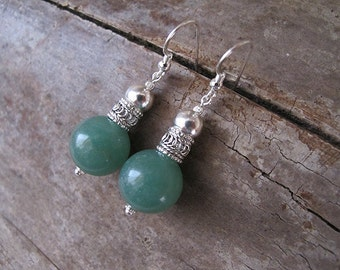 Aventurine earrings, Silver earrings, green earrings, yemenite earrings, israeli jewelry, gemstone jewelry, gift for wife