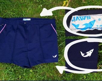 1970's JAWS Shorts / Spanish Vintage Men's Navy Blue Sport Summer Shorts: SHARK Logo, Side Pockets, Swim ---->  Size MEDIUM / 46