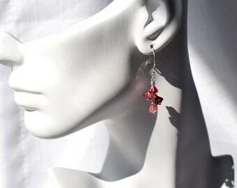 Red Flower Earrings, Glass Flower Earrings, Red Glass Earrings, Cranberry Red Earrings, Sterling Earrings, Wire Wrapped Czech Glass Earrings