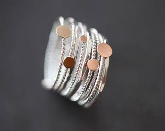 """Stacking 14K solid gold and silver multiple band, semainier, wedding  band,"""" 9 sunny days"""" ring,"""