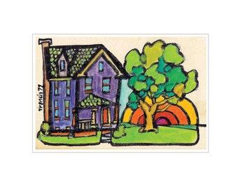 VINTAGE ART Whimsical Art Print City Neighborhood House Upstate New York - Colorful Sunrise Decorative Affordable Wall Decor
