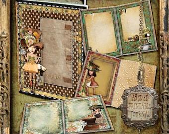 Digital collage sheet, Journal Pages,, Junk Journal, Digital Journal Kit, printable journal, Altered art kit, Vintage Journal
