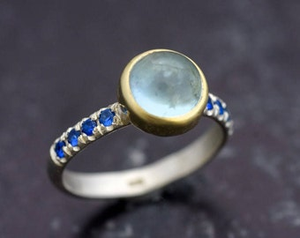 Aquamarine with Sapphires ring, Silver and gold ring, gemstone ring