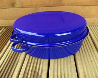 Large Roasting Pan, Vintage Roaster, Enamel Roaster, Vintage Casserole Pot, French Enamel Pot, Enamel Casserole Dish, French Pot (ref 62)