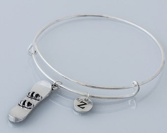 KIDS SIZE - Snowboard initial bangle - snowboard jewelry, gift for snowboarder, winter sports jewelry, silver snowboard initial bangle