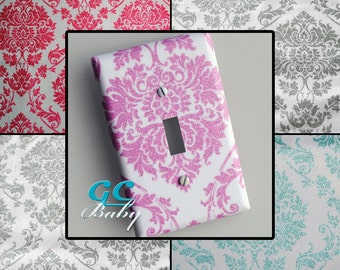 Sparkle Damask Light Switch and Outlet Covers in Pink & Aqua - Pole, Toggle, Rocker, Decorator, Duplex, Combination - Bedroom, Nursery Decor