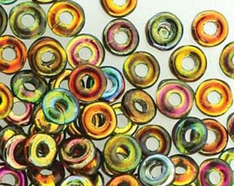 O Beads Magic Copper Czech Glass Donut Ring Beads 3.8 x 1mm 6 grams