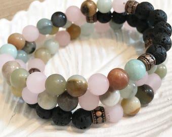 Stackable, Affirmation Essential Oil Diffuser Bracelet, Lava Bracelet