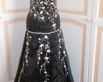 Magnificent Black and White Beaded Ballgown size 10