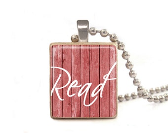 Read Necklace | Book Necklace | Read Charm | Gifts for Readers | Librarian Necklace | Teacher Necklace | Gift for Student | Wood Necklace