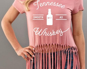 Smooth As Tennessee Whiskey Pink Fringe Tee Shirt Top