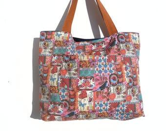 Handbag spring hodgepodge multicolor print fabric.
