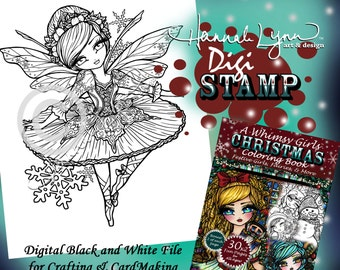 PRINTABLE Digi Stamp Sugar Plum Fairy Whimsy Girls Christmas Coloring Page Fun Fantasy Art Hannah Lynn
