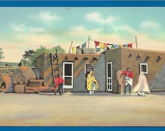 Linen Postcard - Taos Pueblo Adobe Home of Albert Lujan Famous Native American Artist in New Mexico  (2692)