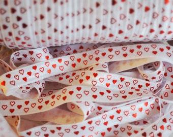 1 Yard - Red Heart Valentines FOE - 5/8 Fold Over Elastic - Foldover Elastic - printed FOE- Elastic by the yard - DIY
