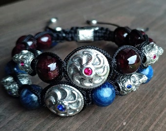 Shamballa bracelet with silver, bracelet for men, skull with sapphire and rubby