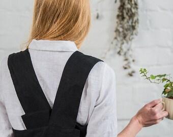 Deepest black pinafore / square cross linen apron /japanese style apron.