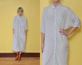 80s Oversized Shirt Pastel Blue Polka Dot Print Dress Button Up Shirt Dress Collared Dress Dolman Sleeve Slouchy Silky Dress