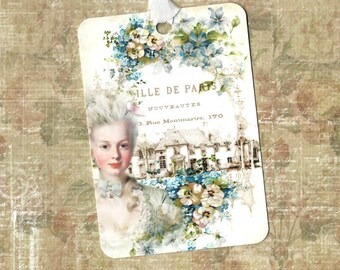 Tags, Marie Antoinette, French, Gift Tags, French Style, Marie Tags