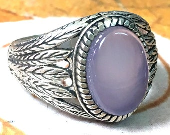 handmade 925 sterling silver men ring natural blue sky color aqeeq agate