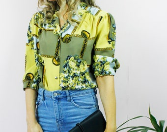 Vintage 80's Retro Chain Floral Print Collared Button Up Shirt Blouse Top