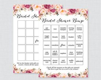 Pink Floral Bridal Shower Bingo Printable - 60 Unique Pre-filled Bingo Cards AND Blank Cards - Rustic Flower Garden Bridal Bingo 0024