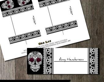 Sugar Skull Day of the Dead-Dia De Los Muertos Wedding Placecards, Digital Printable Wedding Placecard Table tent Cards, Calaveras Skulls
