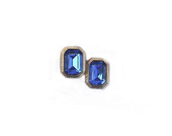 Vintage Swarovski Earrings, Sapphire Blue, Signed With Swan, Clip On