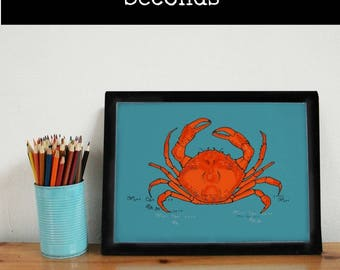 SECONDS -Crab Art Print - crab wall art - crab - crab print - crab decor - nautical print - coastal print - animal print - new home gift