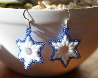 Blue and White Star Earrings,Beaded Star Earrings,Holiday Earrings,Superduo Beaded Earrings,Christmas Earrings,Festive Earrings