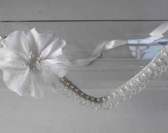 White Silk Flower Halo Headband Pearl Crystal Beaded Satin Ribbon Tie Headband, for weddings, bridal, bridesmaid, parties