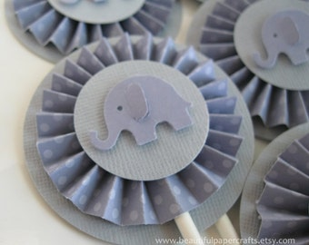 Lavender and Gray Elephant Rosette Cupcake Toppers Elephant Baby Shower Decorations Polka dots..Set of 12