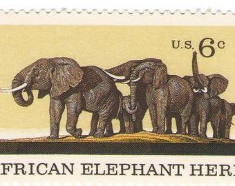 Unused 1970 African Elephant Herd - Vintage Postage Stamps Number 1388