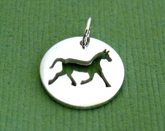 Sterling Silver Cutout Horse Disc Tag Charm