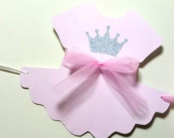 Princess Baby Shower Banner, Princess Baby Shower, Princess Birthday Banner, Pink and Silver Banner - Tutu Onesie