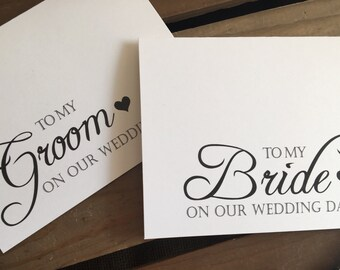 To my GROOM or BRIDE on our wedding day - Special THANKS - Notecard - Recycled - Eco Friendly