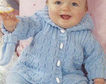 PDF Instant Download   Warm Baby Trousers Jacket & Mitts Knitting Pattern 14 to 20 inch (2)