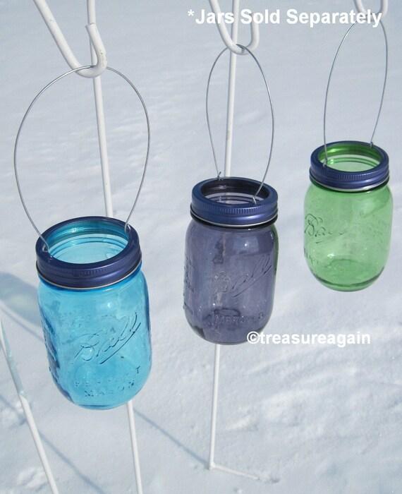 Hanging Mason Jar Purple Lids DIY Garden Lights Hanging