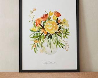 Orange Yellow Tulips Ranunculus Daffodils Watercolor Painting, Peony Flowers, Printable Art, Original art, Floral Wall Art, Instant Download