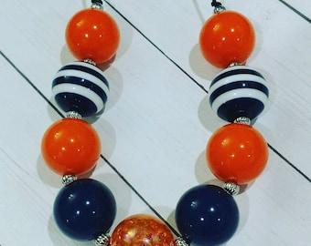 Navy and Orange Chunky Bubblegum Necklace