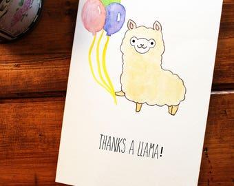 Thanks a Llama Funny Pun Card / Print - Watercolor / Kawaii / Chibi / Cute / Punny