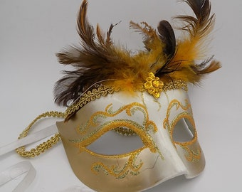 Mask from Venice Carnival vintage set of real feathers