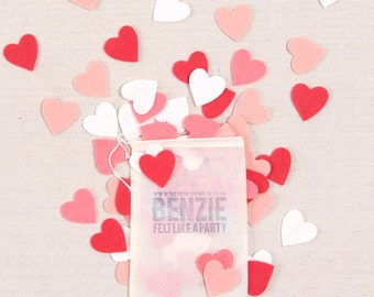 Small Felt Hearts // Felt-Fetti by Benzie // Heart Die Cuts, Valentine Party, Garland Kit, Heart Confetti, Felt Shape, Craft Embellishments