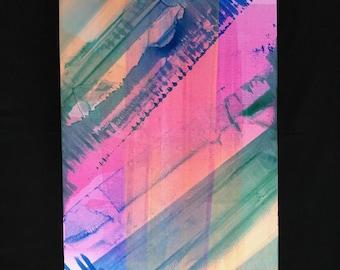 Neon Inkwipe Monoprint - Swoop