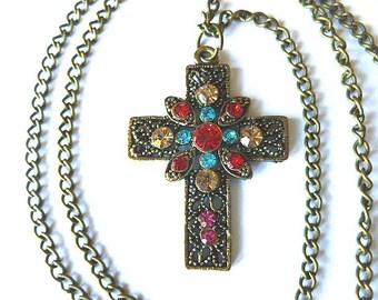 BRASSTONE RHINESTONE Cross,  Colorful Brasstone Openwork Cross Pendant, Filigree Cross Necklace, Cross with Neck Chain, Christian Spiritual