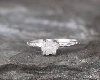 Uncut Diamond Ring - Raw Diamond Engagement Ring - 1 Carat - Sterling Silver Stacking Rings - April Birthstone -  Conflict Free Diamond