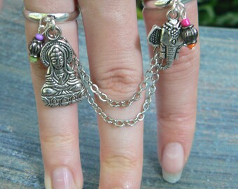 Zen ring chained double ring  Ganesh Buddha Buddah Indi Moroccan Yoga double slave ring in fantasy    hipster boho gypsy fusion style